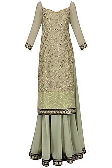 Olive Green Embroidered Kurta and Skirt Set