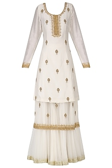 White Embroidered Double Layer Kurta and Gharara Pants Set