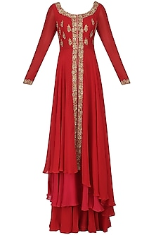 Red and Pink Embroidered Asymmetrical Kurta and Sharara Pants Set