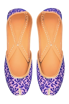 Baby Pink and Royal Blue Floral Net Embroidered Juttis by Punjla