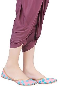 Baby Pink and Turquoise Phulkari Work Jutti's