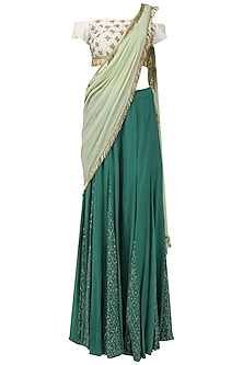 Teal and Off White Embroidered Concept Saree