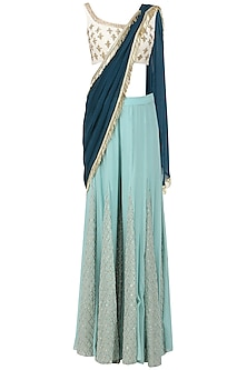 Sea Blue and Off White Embroidered Concept Saree