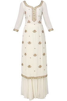 Off White Embroidered Kurta with Sharara Pants Set