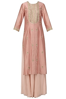 Pastel Pink Embroidered Kurta with Sharara Pants Set