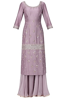 Mauve Embroidered Kurta with Sharara Pants Set