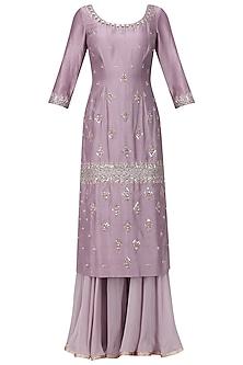 Mauve Embroidered Kurta with Sharara Pants Set