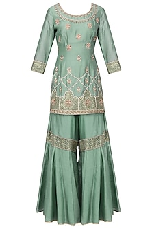 Duckegg Blue Embroidered Kurta with Gharara Pants Set
