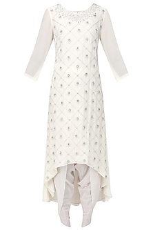 Off White Embroidered High-Low Kurta with Dhoti Pants