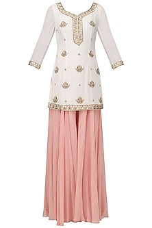 Off White Embroidered Short Kurta with Light Pink Sharara Pants Set
