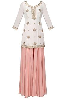 Off White Embroidered Short Kurta with Light Pink Sharara Pants Set