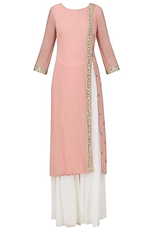 Light Pink Embroidered Kurta with Off White Sharara Pants Set