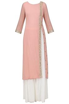Light Pink Embroidered Kurta with Off White Sharara Pants Set