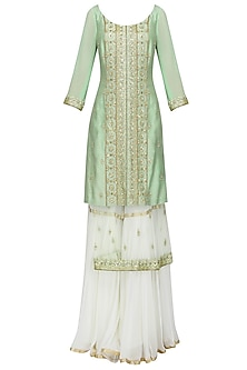 Sea Green Embroidered Layered Kurta with Gharara Pants Set