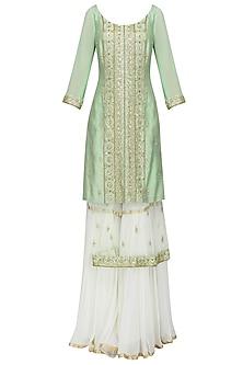 Sea Green Embroidered Layered Kurta with Gharara Pants Set