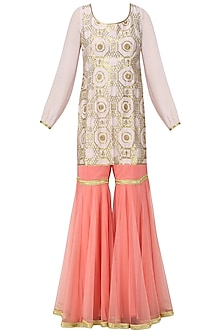Powder Pink Embroidered Kurta with Gharara Pants Set