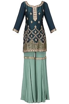Dark Blue Embroidered Kurta with Gharara Pants Set