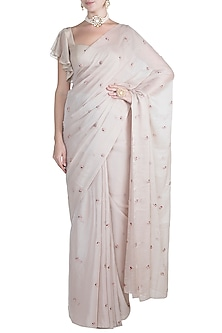 Ivory Shimmer Embroidered Saree Set by Pleats by Kaksha & Dimple