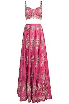 Pink Embroidered Bridal Lehenga Set by Pleats by Kaksha & Dimple