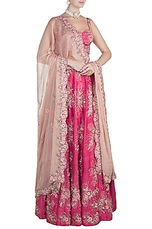 Pink Embroidered Bridal Lehenga Set by Pleats by Kaksha & Dimple