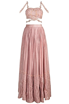 Blush Pink Embroidered Sequins Lehenga Set by Pleats by Kaksha & Dimple
