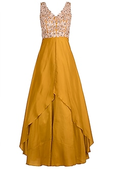 Mustard Yellow Embroidered Layered Anarkali Gown With Dupatta by Pleats by Kaksha & Dimple