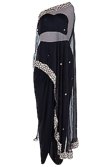 Black Embroidered One Shoulder Cape with Bustier and Palazzo Pants