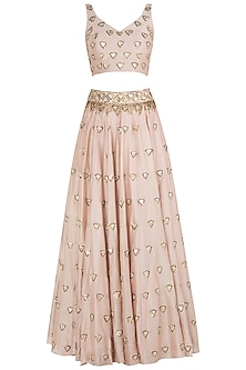 Pink Booti Embroidered Lehenga Set by Pleats by Kaksha & Dimple
