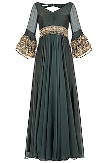 Green Embroidered Anarkali Gown Set