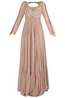 Peach and Brown Embroidered Anarkali Gown Set