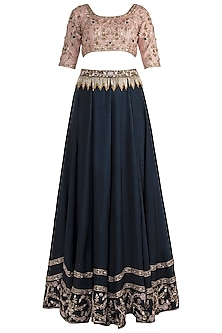 Royal Blue and Pink Embroidered Lehenga Set