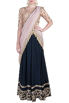Royal Blue and Pink Embroidered Lehenga Set by Pleats By Kaksha & Dimple