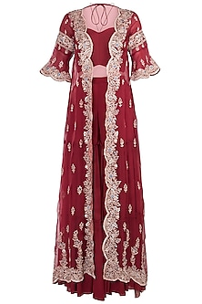 Red Embroidered Cape with Crop Top and Palazzo Pants