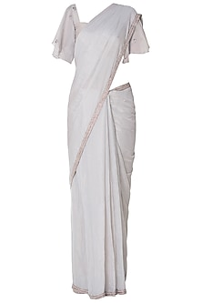 Ivory Embroidered Saree with Frill Blouse by Pleats By Kaksha & Dimple