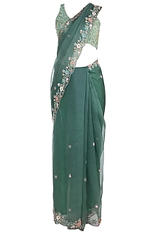 Green Embroidered Saree with Blouse