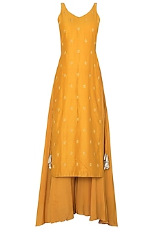 Yellow Tunic and Matching Pallazo In Chanderi Silk