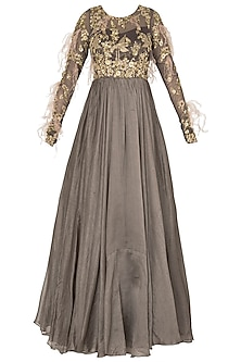 Dark Gray Anarkali with Feather, Cutdana and Bead Work In Chanderi Silk and Shimmer Net