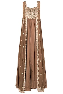 Brown Embroided Bootis Tunic with Sequined Sleeveless Jacket