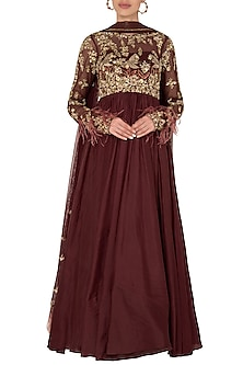 Maroon Feather Anarkali Set In Pure Silk and Shimmer Net by Pleats by Kaksha & Dimple