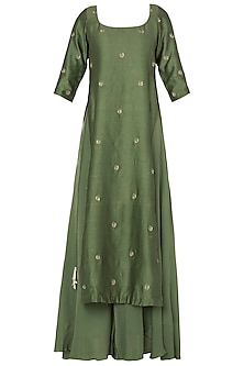 Pine Green Sleeveless Tunic with A Matching Pallazo In Chanderi Silk.<br />