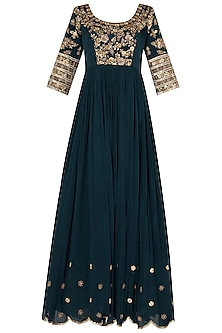 Peacocok Blue Scalloped Anarkali with Heavy Zardozi Embroidery In Crepe Georgette