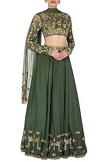 Green Feather Lengha Set In Pure Silk and Shimmer Net by Pleats by Kaksha & Dimple