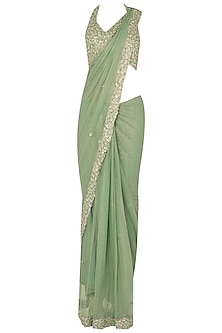 Seaglass Green Sequin Sari Set In Raw Slik and Shimmer Net