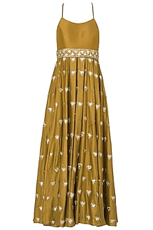 Dandelion Noodle Strap Trikon Butti Anarkali Set In Chanderi Silk by Pleats by Kaksha & Dimple