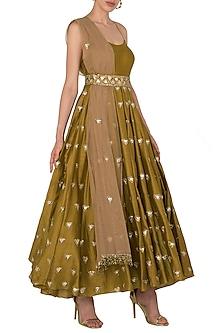 Dandelion Noodle Strap Trikon Butti Anarkali Set In Chanderi Silk by Pleats by Kaksha & Dimple