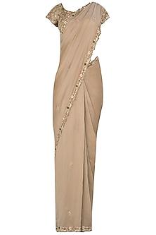 Rosewood Pink Tissue Sari Set by Pleats by Kaksha & Dimple