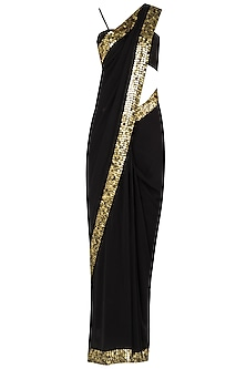Black Sari with Metal Border In Pure Georgette and Raw Silk by Pleats by Kaksha & Dimple