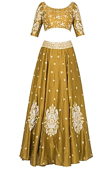 Mustard Lehenga with Quater Sleeves Blouse In Chanderi Silk.