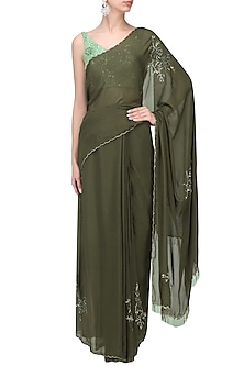 Olive Green Cutdana Emnbroidered Saree with Mint Blouse by Pleats by Kaksha & Dimple