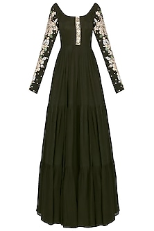 Olive Green and Ivory Embroidered Anarkali Set by Pleats by Kaksha & Dimple